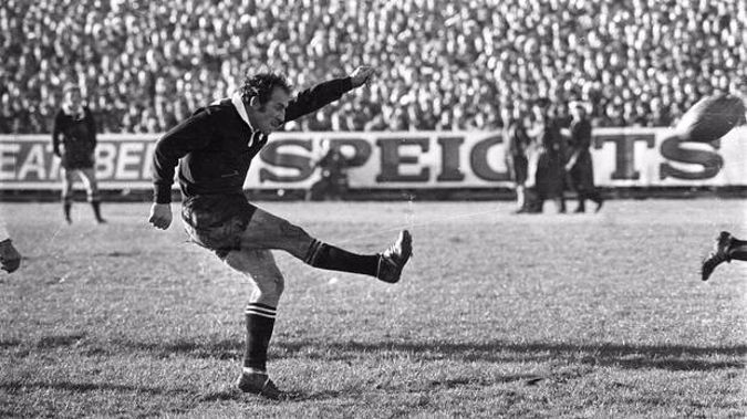 Lions versus AllBlacks - First test 26/06/1971 All Black fullback Fergie McCormick kicks a penalty in the first test against the Lions at Carisbrook Dunedin.