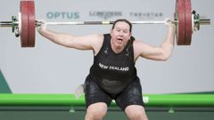 Laurel Hubbard suffered the shock twist during her final snatch at the Commonwealth Games yesterday. (Photo / NZ Herald)