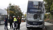 Double-decker bus hits power pole in Mt Eden