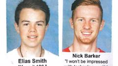 Elias Smith and Nicholas Barker pictured in their 2015 Yearbook (Photo/ Supplied)