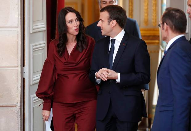 Jacinda Ardern went from a meeting with French President Macron to doing a lecture on climate change