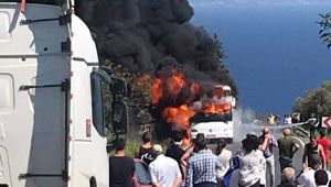 The bus was fully engulfed in flames. Video / Laura Smith