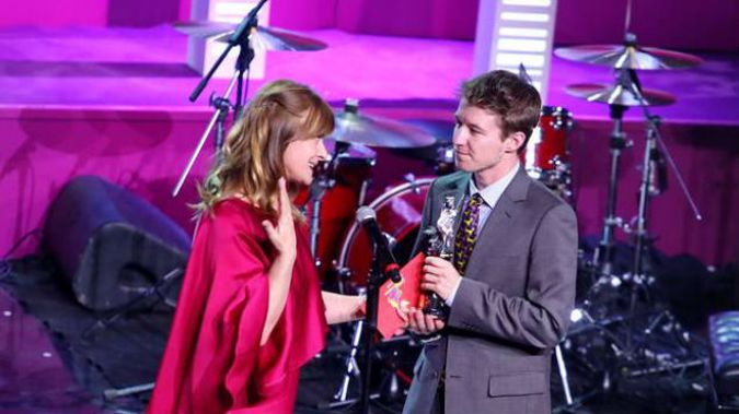 Kieran Charnock, who featured in the film Stray, was presented with his award by Nastassja Kinski. (Photo: Supplied)