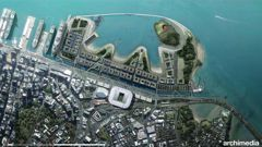 An aerial view of Waitemata Harbour showing the Auckland port area and redevelopment as proposed by Archimedia. (Picture / Supplied)