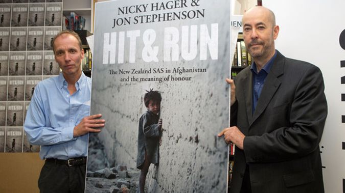 Nicky Hager and Jon Stephenson during the launch of their book that sparked the revelations. (Photo / NZ Herald)