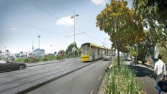 An artist's impression of Auckland's light rail plans. Image / Auckland Transport