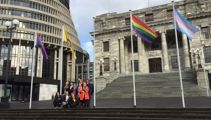LGBT community flags flying at parliament