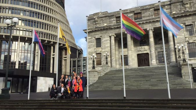 The flags have been raised in soldarity with an international campaign against discrimination. (Photo / Human Rights Commission)