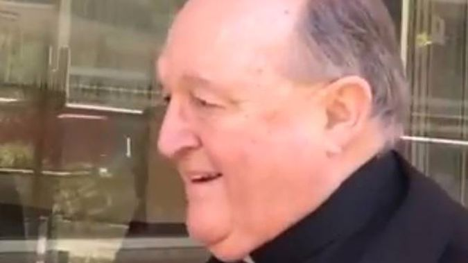 Adelaide Archbishop Philip Wilson outside court. (Photo / Twitter, Geelong Advertiser video)