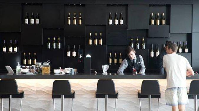 Air New Zealand Koru Lounge bar at Auckland Airport. (Photo / Nick Reed)