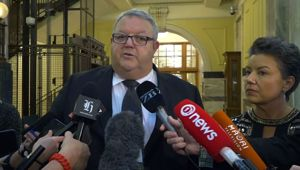 Gerry Brownlee and Paula Bennett spoke to the media today criticsing Trevor Mallard. (Photo / NZ Herald)