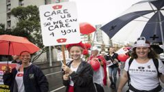 Auckland nurses marched in the rain at an earlier strike. Photo / Greg Bowker
