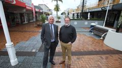 Councillor Terry Molloy and Brian Berry of Downtown Tauranga. (Photo / John Borren)