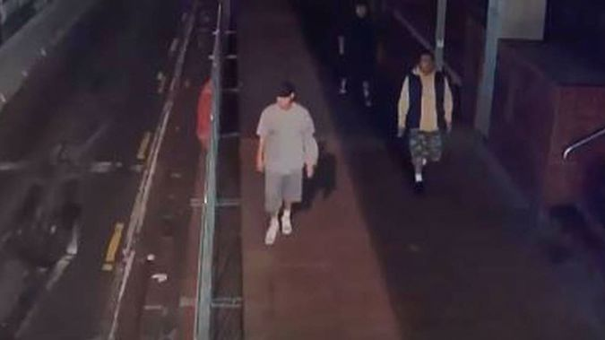 The two victims had been walking along Queen St when about eight men (pictured) approached them. (Photo / Police)
