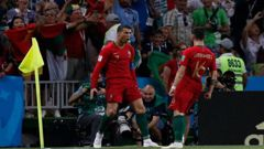 Portugal's Cristiano Ronaldo, celebrates during the group B match between Portugal and Spain. (Photo / AP)