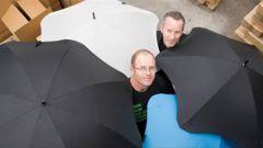 Madeblunt managing director, Scott Kington (rear) and designer Greig Brebner with their Blunt umbrellas. (Photo / File)