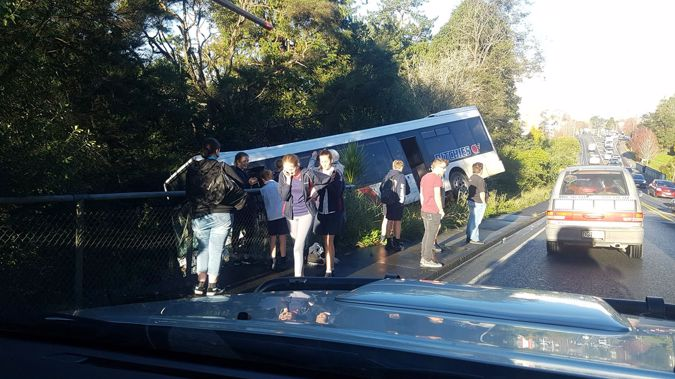 A school bus in Albany has tipped off the road this afternoon. (Photo / Supplied)