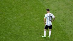 Argentina's Lionel Messi reacts after his team was eliminated during the round of 16 match between France and Argentina. Photo / AP Photo