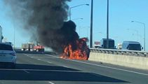 Car fire blocks two lanes on Auckland's Southwestern Motorway
