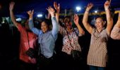 There have been wild celebrations on the streets in Thailand. Photo / AP