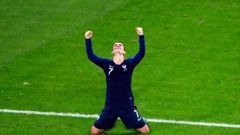 France's Antoine Griezmann celebrates at the end of the semifinal match between France and Belgium. Photo / AP