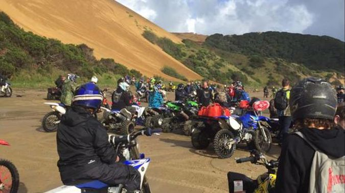 A gathering of motorbikes at Ahipara, where fences are about to be erected to protect vulnerable landscapes and ecological sites.