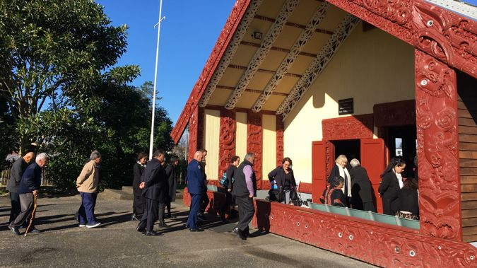 Police Minister Stuart Nash is welcomed on to Hoani Waititi Marae. (Photo / Newstalk ZB)