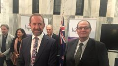 Justice Minister Andrew Little and ex-National MP  Chester Borrows launch the criminal justice advisory panel at Parliament. (Photo / NZ Herald)