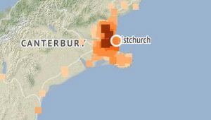 The earthquake struck about 10km east of Christchurch at a depth of 12km at 9.10pm. (Image / Geonet)