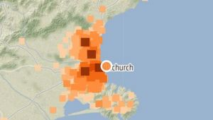As at this morning, nearly 8000 people reported feeling (denoted in colours) last night's 9.10pm quake, which struck about 10km east of Christchurch at a depth of 12km. Image / GeoNet