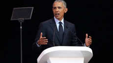 'Strange and uncertain times': Obama attacks Trump in speech