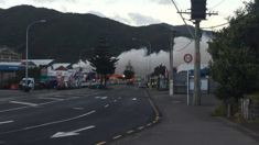 Businesses evacuated near massive fire at scrap metal centre in Wellington