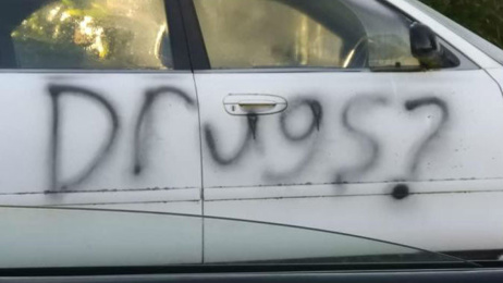 Vehicles tagged with shocking graffiti