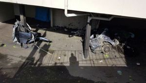 Wreckage from the crash shows the car was ripped into pieces, police say speed was a factor. (Photo: NZ Herald)