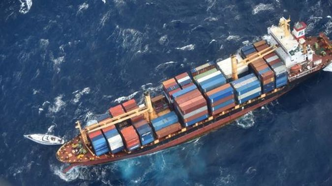 The Southern Lily container ship that came to rescue crew members of stricken yacht Platino. Photo / NZDF