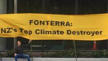Anti-coal group protests outside Fonterra's Auckland office