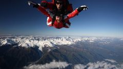 Skydivers and a helicopter were briefly on a collision course over Franz Josef Aerodrome in January. (Photo / File)
