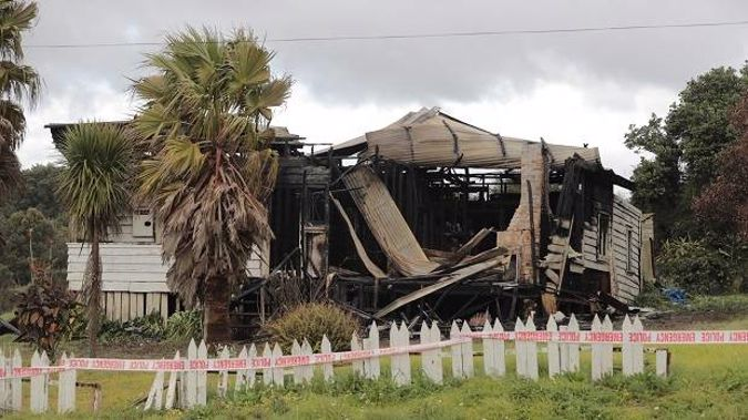 A 55-year-old man died at property on Blake Rd in Pukekohe on Saturday night after candles were lit and the house was engulfed in flames (Image / Michael Craig)