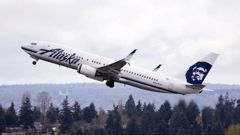 An Alaska Airlines jet takes off from Seattle-Tacoma International Airport in Washington. Photo / AP file