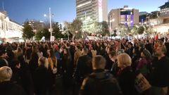 The crowds made their voices heard. (Video: Daniel Walker)