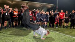 Scott Robertson celebrates his side's Super Rugby final win, with a bit of break dancing. (Photo / Getty)