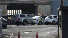 Police at scene of work place accident at CSP Coating Systems in Auckland this morning. (Photo / Brett Phibbs)