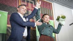 Marama Davidson and James Shaw. Photo \ NZ Herald