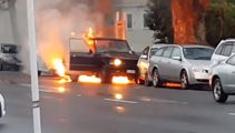 Watch: Car bursts into flames after crash in Hamilton