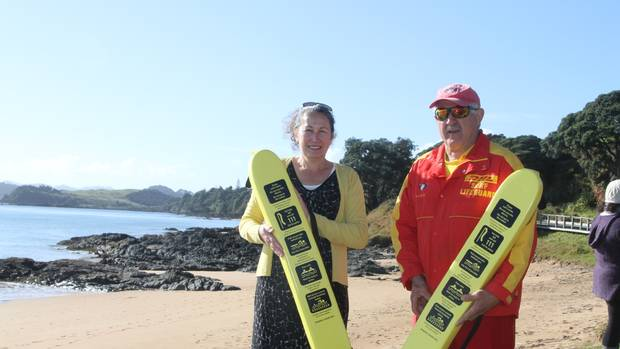 Pat Miller, the driving force behind Operation Flotation, and Far North Surf Rescue chairman Dave Ross at Saturday's launch at Doubtless Bay.