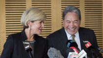 Winston Peters commiserates with Julie Bishop