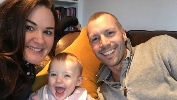 Auckland family Janelle Brunton-Rennie, Kurt Brunton and their nearly one-year-old daughter Sage stay positive with hope. Photo / Supplied