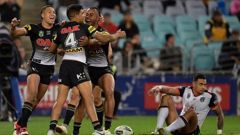 Tyrone Peachey of the Panthers celebrates scoring a try against the Warriors. (Photo / Getty)
