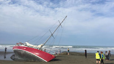 New Brighton residents baffled by mysteriously marooned yacht