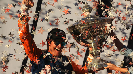 Scott Dixon talks after his Indy Car victory